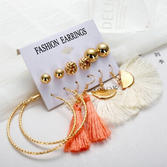 2c7c77f4da sugarsaks Jewelry   6 Pair Boho Tassel Stud Hoop Earring Set   Poshmark